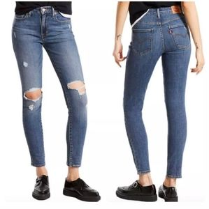 Levi's 721 High Rise Skinny distressed med wash